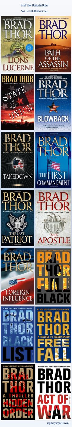 Brad Thor books with his Scot Harvath thriller series listed in proper reading order