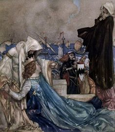 Le morte d'Arthur - the book of King Arthur and of his noble knights of the round table, volume I' by Sir Thomas Malory, Knt; illustrated by William Russell Flint. Published 1910-11 by Philip Lee Warner
