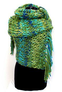 KnotJustFuzzy Blanket Scarf/GenTWO-42-Green/Aqua/Blue/Yellow-Big Scarf $160.00 #knotjustfuzzy www.knotjustfuzzy.com