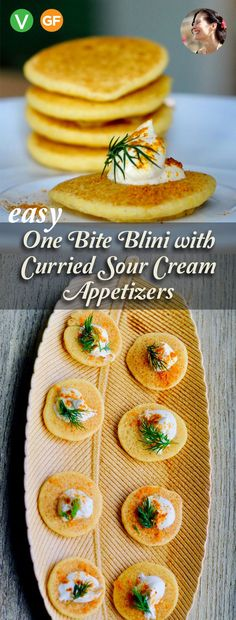 Easy One Bite Blini with Curried Sour Cream Appetizers, Vegan, Gluten Free - Appetizers easy Potato Appetizers, Make Ahead Appetizers, Gluten Free Appetizers, Appetizers For A Crowd, Vegetarian Appetizers, Fresco, Curry, Vegan Sour Cream, First Bite