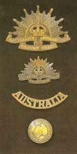AIF cap badge, collar badge, shoulder title and tunic button Military Service, Military Art, Vintage Military Uniforms, Australia Facts, World War I, Wwi, Family History, Troops, Badges