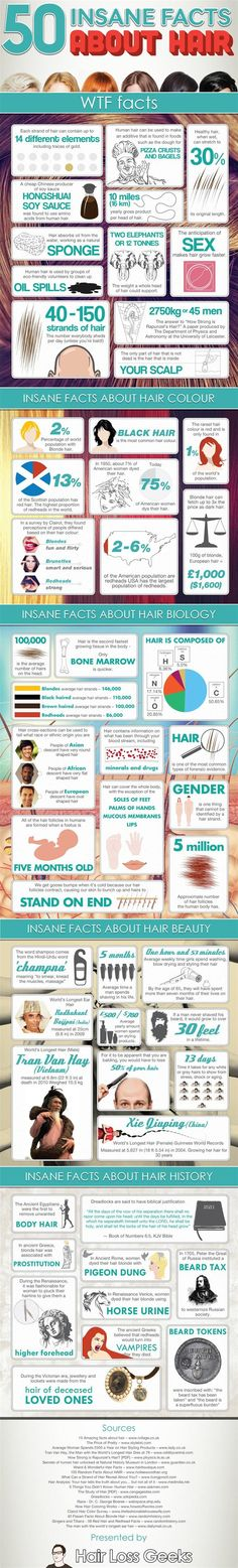 50 Insane Facts About Hair! For more beauty discoveries, head over to Pampadour.com!