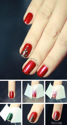 Christmas Tree Nail Design Tutorial - 15 Christmas-Inspired DIY Nail Art Tutorials | GleamItUp