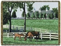 Country Kentucky Dreamin Horses Tapestry Throw. Get this for a gift.