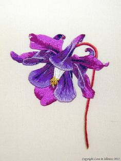 Columbine embroidery by Love in Idleness, via Flickr