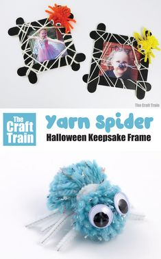 Cute spider keepsake frame for Halloween crafting. This is a fun keepsake idea to make from craft sticks and yarn with a cute spider made from a pom pom #pompom #halloween #kidscrafts #thecrafttrain #yarncrafts #craftsticks Craft Stick Crafts, Yarn Crafts, Craft Sticks, Halloween Crafts For Kids, Easy Crafts For Kids, Things To Make With Yarn, Spider Crafts, Halloween Spider, Creative Play