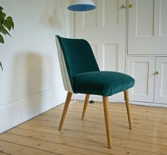1950's Occasional Chair In Turquoise Velvet from notonthehighstreet.com
