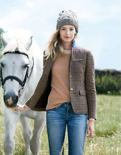 J.Crew Style | retro plaid blazer | horse fashion photo