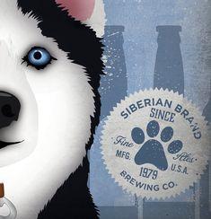 Husky siberiano cerveza perro cerveza compañía por geministudio
