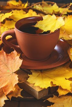 Autumn, fall leaves, hot cup of coffee on wooden table background - cafE ¿tEa ¿winE - Coffee Love, Coffee Art, Coffee Break, Coffee Cups, Winter Coffee, Good Morning Coffee, Food Wallpaper, Coffee Photos, Coffee Photography