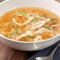 This is REALLY good. I used rotisserie chicken, removed skin and shredded the breast. It tastes like an Asian chicken noodle soup. Delicious!!! You could use asian noodles of some kind in lieu of the rice...
