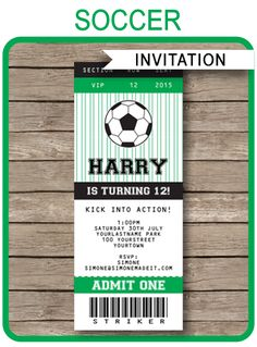 INSTANT DOWNLOADS of Soccer Party Ticket Invitations. Personalize the printable template easily at home and get your birthday party started right now!