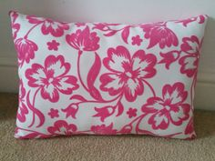 Handmade Pink flower embossed cushion by Twiddliebits on Etsy