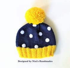 knit preppy polka dot beanie preppy polka dot pom pom hats beanie polka dot hat yellow and navy polka dot hat ninishandmades knitted in the usa usa handmade buy handmade - PIPicStats Baby Hats Knitting, Loom Knitting, Knitted Hats, Knitting Patterns, Crochet Patterns, Knit Beanie Hat, Crochet Beanie, Crochet Baby, Knit Crochet