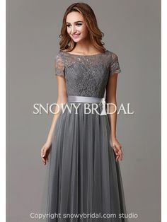 Garden Modest Fall Grey Lace Long A-Line Bridesmaid Dress-US$96.99- StyleB2664-Snowy Bridal