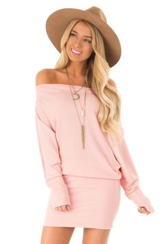 c843da11ff351 Baby Pink Off the Shoulder Long Dolman Sleeve Dress