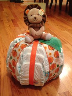 "Little ""Pumpkin"" Diaper Cake by CandeeLandCreations on Etsy https://www.etsy.com/listing/235572441/little-pumpkin-diaper-cake"