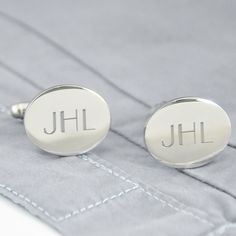Engraved Silver Oval Initials Cufflinks (Cathys Concepts 1102S) | Buy at Wedding Favors Unlimited (http://www.weddingfavorsunlimited.com/engraved_silver_oval_cuff_links.html).