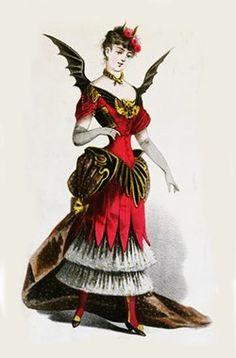 A female devil costume from L'Art Du Travestissement, a French fancy dress book written by Leon Salut in 1885 French Fancy Dress, Victorian Fancy Dress, Fancy Dress Ball, Victorian Fashion, Victorian Era Dresses, Victorian Ladies, Victorian Gothic, Gothic Lolita, Costume Vampire