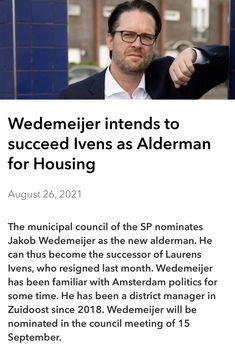 Last Month, August 26, Amsterdam, Management, Politics, News
