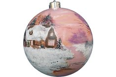 Hand-painted Christmas Ornament Glass Ball Large House Winter Forest Cottage Cabin Christmas Tree Morning Dawn Sunrise Forest Snow Pink Sky (painted by Helen Krupenina)