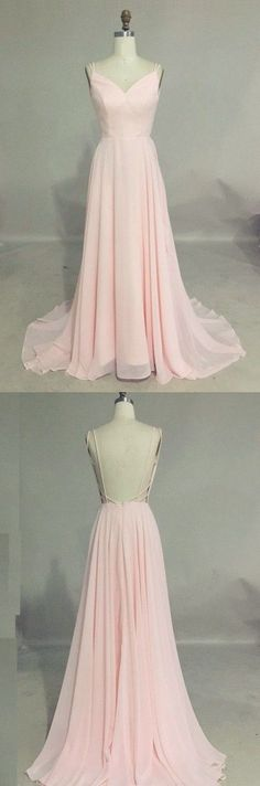Sexy Prom Dress,Charming Pink Prom Dress,Long Prom Dresses,Chiffon Backless Evening Dress,Sweep Train Prom Gown by prom dresses, $139.00 USD