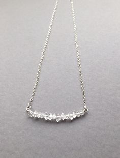 """Sparkly Herkimer Diamond Bar; hangs at 16""""on a sterling silver chain.Perfect for everyday! ($42) #herkimerjewelry #modernjewelry #barnecklace"""