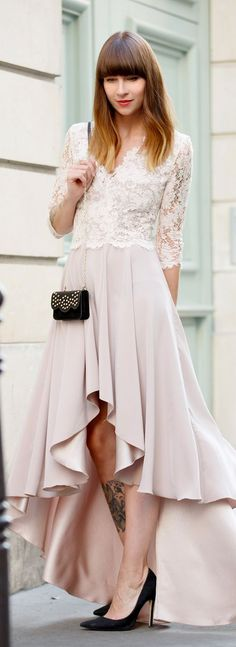 Blush Lacey Top Hi-lo Gown Fall Inspo by Cats & Dogs