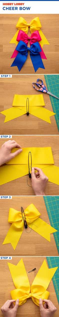 This DIY cheer bow has four easy steps. This DIY cheer bow has four easy steps. Soft, shiny, silky and well-groomed hair is our dream. Easy Hair Bows, Making Hair Bows, Girl Hair Bows, Bow Making, Diy Bow, Diy Ribbon, Ribbon Bows, Ribbon Flower, Fabric Bows