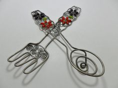 Vintage Salad Tossers Decorative Fork / Spoon Metal by KathiJanes, $24.95