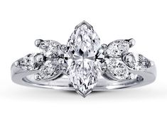 Open Petals Marquise Diamond engagement Ring