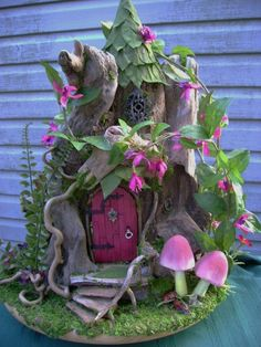 Fully furnished 1:12 scale OOAK Driftwood FAIRY HOUSE Cottage dollhouse by J. McLaughlin