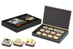Return gift ideas for kids - 12 Chocolate Box - Printed Candies Boxes) Birthday Return Gifts, Concepts Of Print, Chocolate Box, Corporate Gifts, Wooden Boxes, Candy, Make It Yourself, Diwali, Chocolates