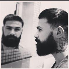Liam Herb - nice mirror shot - full thick beard and mustache beards bearded man men undercut hair hairstyle bushy tattoos tattooed handsome #beardsforever