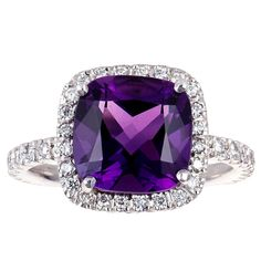 brilliant cut diamond and cushion cut amethyst cluster ring set in white gold by Nigel Mine Amethyst And Diamond Ring, Amethyst Cluster, Amethyst Jewelry, Diamond Cluster Ring, Purple Love, Shades Of Purple, Mauve, I Love Jewelry, Violet