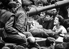 A Czechoslovakia woman shouts Ivan GO Home! to Soviet Army soldiers sitting on tanks in the streets of Prague August 26 1968 842 ] Marie Curie, Steve Jobs, Mahatma Gandhi, Jean Ferrat, Prague Spring, Einstein, World Conflicts, Christian Dating Site, Soviet Army