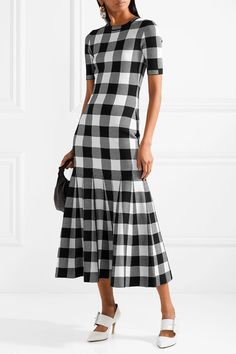 Oscar de la Renta   Gingham wool-blend jacquard dress   NET-A-PORTER.COM