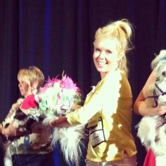 @jackpomeranian mom Shannon Olsen on stage with her #pawjectrunway design at #blogpaws