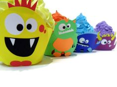 Monster Cupcake Wrappers - set of 12 www.cakeadoodle.ca