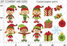 Christmas clipart Happy Elves Clip art and par pixelpaperprints