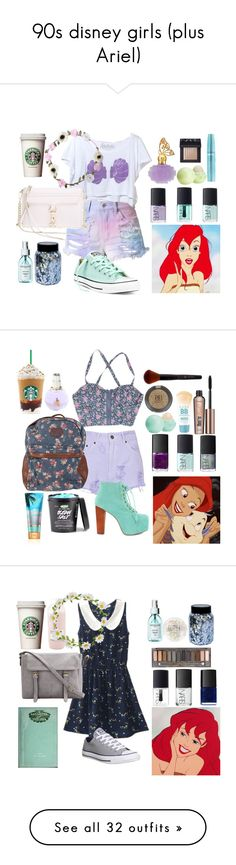 """""""90s disney girls (plus Ariel)"""" by glitter-and-mermaids ❤ liked on Polyvore featuring Disney, Eos, Anna Sui, Cotton Candy, Converse, NARS Cosmetics, claire's, Rebecca Minkoff, Sachajuan and disney"""