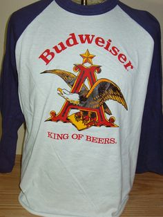 vintage 1980s Budweiser Beer raglan retro t shirt XL 425e20e07