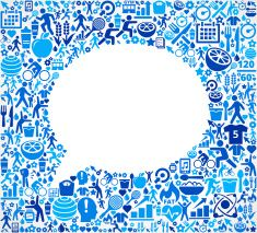 Speech Bubble Fitness and Diet Vector Button Pattern vector art illustration