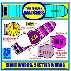 Your students will LOVE these interactive Sight Word flip book Watches! Now they can WEAR their new word home and share it with their family!  There are 25 words included; all 2-letter sight words. The students cut out the letters and paste them on the watch face to spell the word. 2 Letter Words, Sight Words, Letters, Kindergarten Math, Teaching Math, Paper Watch, Math Skills, New Words, Manners