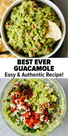 Authentic Guacamole Recipe, Guacamole Recipe Easy, Avocado Recipes, Fresh Guacamole, Homemade Guacamole, Guacamole Dip, Recipes With Guacamole, Sauces, Salads