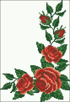 This Pin was discovered by Fik Cute Cross Stitch, Cross Stitch Borders, Cross Stitch Rose, Cross Stitch Flowers, Cross Stitch Designs, Cross Stitching, Cross Stitch Embroidery, Cross Stitch Patterns, Embroidery Patterns Free