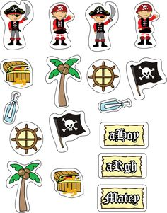 Get your pirate printables and coloring pages Pirate Preschool, Pirate Activities, Pirate Crafts, Deco Pirate, Pirate Theme, Stickers Pirate, Jack Le Pirate, Pirate Treasure Maps, Birthday Charts