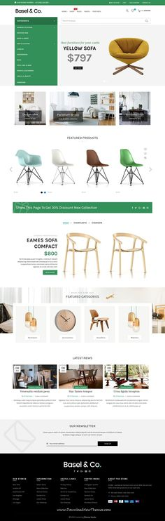 Basel is clean and modern design responsive bootstrap HTML5 #theme for stunning #furniture #shop eCommerce #website with 10 niche homepage layouts to live preview & download click on image or Visit