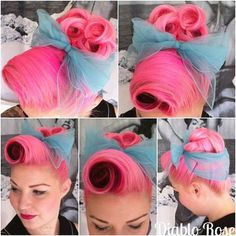 gorgeous pink pin curls with turquoise scarf
