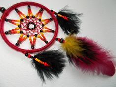 2.8 Fire Dreamcatcher  Beaded Boho Hippie Home by WindalaCrafts